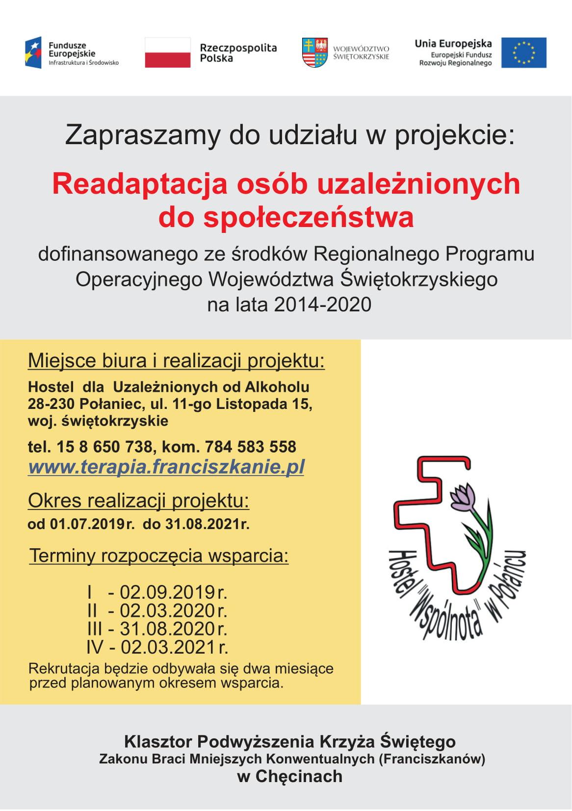 Ulotka strona pierwsza programu: Readaptacja osób uzależnionych do społeczeństwa