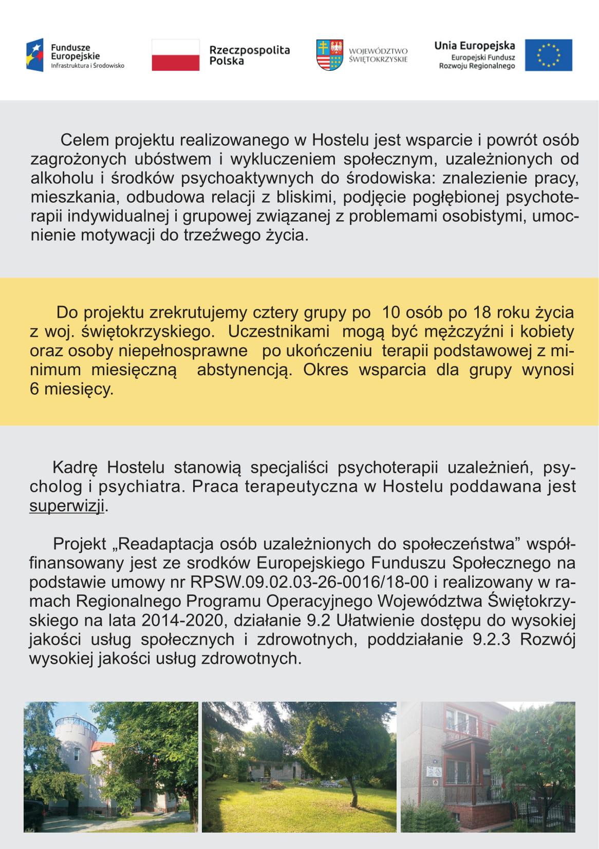 Ulotka strona druga programu: Readaptacja osób uzależnionych do społeczeństwa
